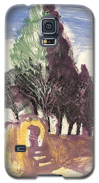 Galaxy S5 Case featuring the painting Cypresses Bonnieux by Martin Stankewitz