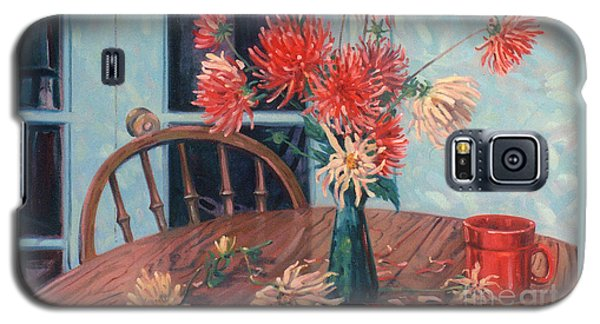 Dahlias With Red Cup Galaxy S5 Case by Donald Maier
