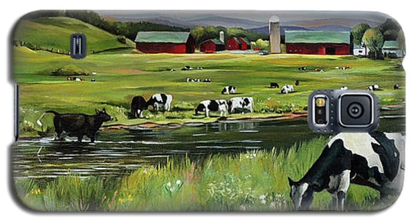 Galaxy S5 Case featuring the painting Dairy Farm Dream by Nancy Griswold