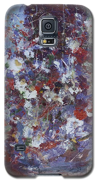 Galaxy S5 Case featuring the painting Daisies In Purple by Avonelle Kelsey