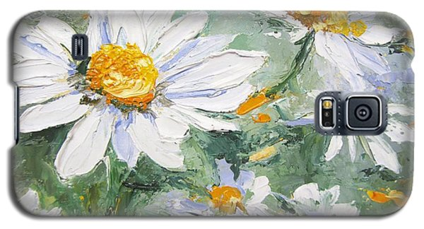 Daisy Delight Palette Knife Painting Galaxy S5 Case by Chris Hobel