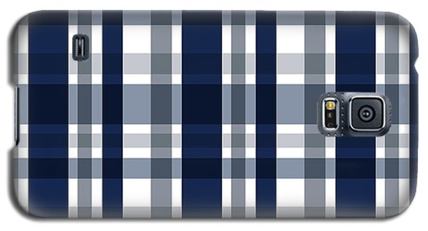 Galaxy S5 Case featuring the digital art Dallas Sports Fan Navy Blue Silver Plaid Striped by Shelley Neff