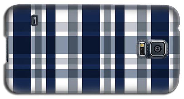 Dallas Sports Fan Navy Blue Silver Plaid Striped Galaxy S5 Case