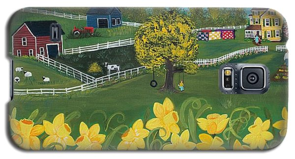 Galaxy S5 Case featuring the painting Dancing Daffodils by Virginia Coyle