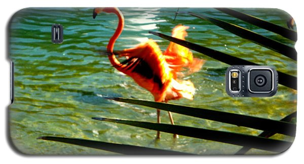 Galaxy S5 Case featuring the painting Dancing Flamingo by Yolanda Rodriguez