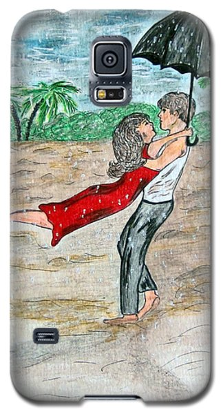 Galaxy S5 Case featuring the painting Dancing In The Rain On The Beach by Kathy Marrs Chandler