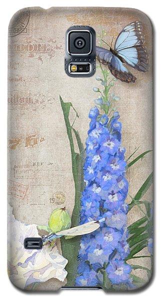 Dancing In The Wind - Damselfly N Morpho Butterfly W Delphinium Galaxy S5 Case