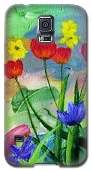 Galaxy S5 Case featuring the painting Daria's Flowers by Jamie Frier