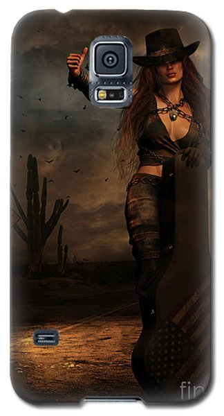 Galaxy S5 Case featuring the digital art Dark Desert Highway by Shanina Conway