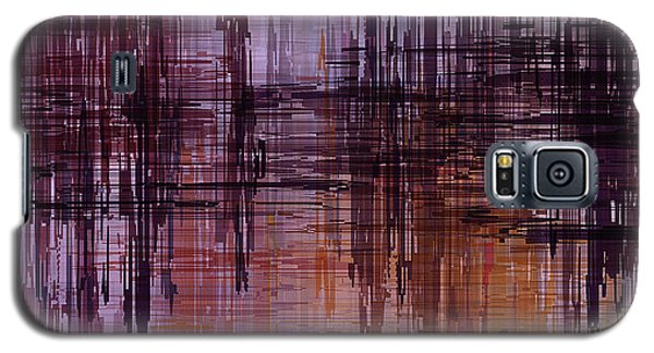 Galaxy S5 Case featuring the painting Dark Lines Abstract And Minimalist Painting by Ayse Deniz