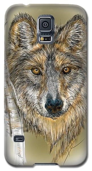 Dark Wolf With Birch Galaxy S5 Case by Darren Cannell