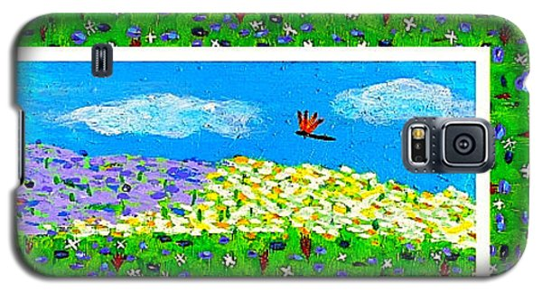 Galaxy S5 Case featuring the painting Day And Night In A Sunflower Field With Floral Border by Angela Annas