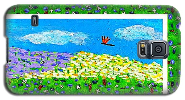 Day And Night In A Sunflower Field With Floral Border Galaxy S5 Case by Angela Annas