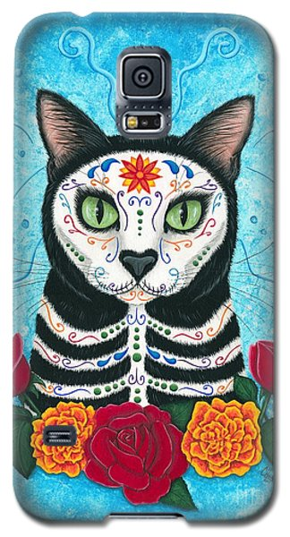 Day Of The Dead Cat - Sugar Skull Cat Galaxy S5 Case by Carrie Hawks
