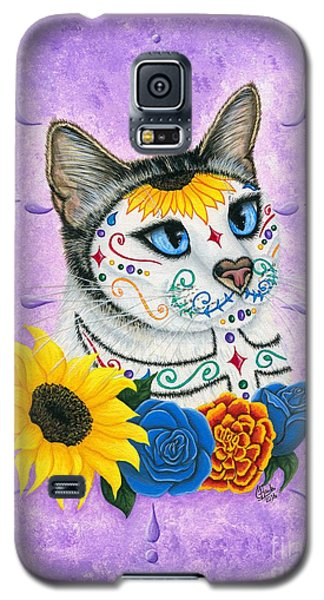 Day Of The Dead Cat Sunflowers - Sugar Skull Cat Galaxy S5 Case by Carrie Hawks