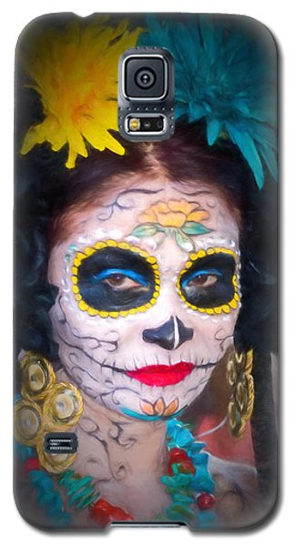 Day Of The Dead Flower Lady Galaxy S5 Case