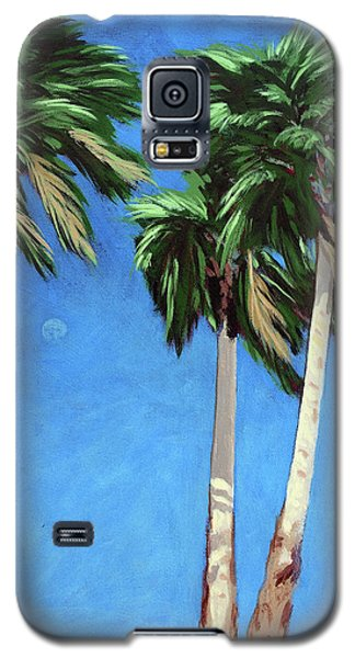 Galaxy S5 Case featuring the painting Daytime Moon In Palm Springs by Linda Apple