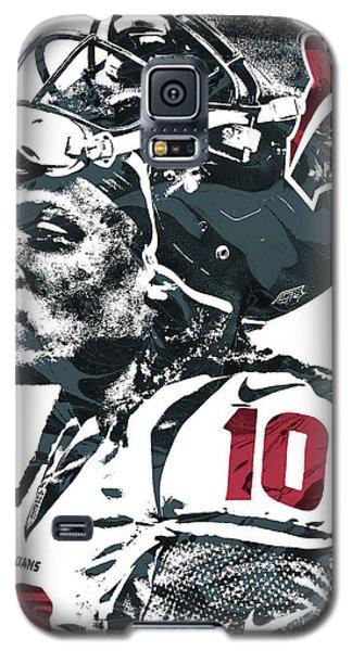 Galaxy S5 Case featuring the mixed media Deandre Hopkins Houston Texans Pixel Art 2 by Joe Hamilton