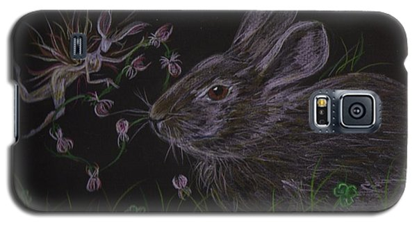 Galaxy S5 Case featuring the drawing Dearest Bunny Eat The Clover And Let The Garden Be by Dawn Fairies