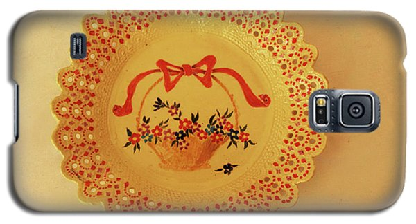 Decorated Plate With A Basket And Flowers Galaxy S5 Case by Itzhak Richter