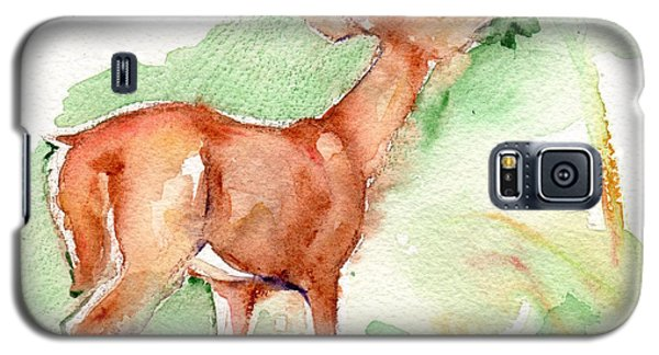 Deer Painting In Watercolor Galaxy S5 Case by Maria's Watercolor