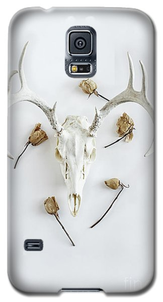 Galaxy S5 Case featuring the photograph Deer Skull With Antlers And Roses by Stephanie Frey