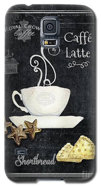 Galaxy S5 Case featuring the painting Deja Brew Chalkboard Coffee 2 Caffe Latte Shortbread Chocolate Cookies by Audrey Jeanne Roberts