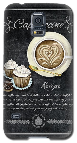 Galaxy S5 Case featuring the painting Deja Brew Chalkboard Coffee 3 Cappuccino Cupcakes Chocolate Recipe  by Audrey Jeanne Roberts
