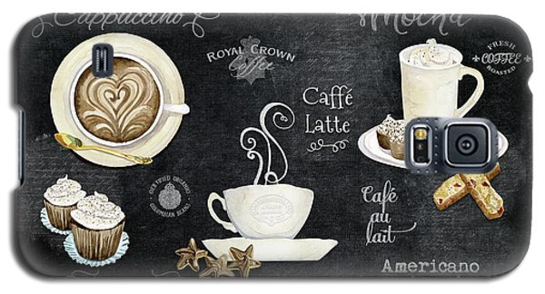 Galaxy S5 Case featuring the painting Deja Brew Chalkboard Coffee Cappuccino Mocha Caffe Latte by Audrey Jeanne Roberts