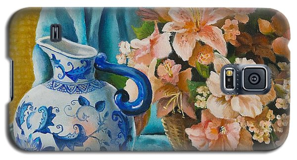 Galaxy S5 Case featuring the painting Delft Pitcher With Flowers by Marlene Book
