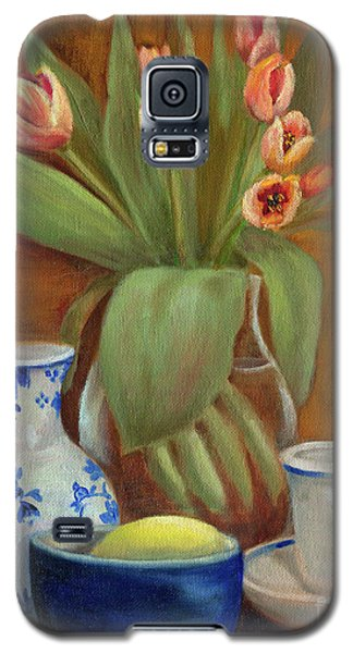 Galaxy S5 Case featuring the painting Delft Vase And Mini Tulips by Marlene Book