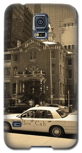 Galaxy S5 Case featuring the photograph Denver Downtown With Yellow Cab Sepia by Frank Romeo