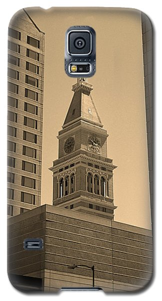 Galaxy S5 Case featuring the photograph Denver - Historic D F Clocktower 2 Sepia by Frank Romeo