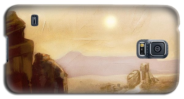 Galaxy S5 Case featuring the painting Desert Base - Fantasy by Jean Moore