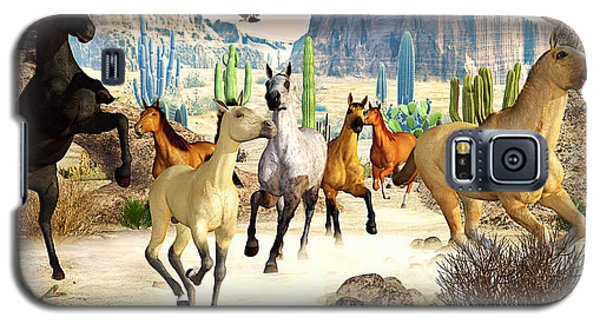 Galaxy S5 Case featuring the photograph Desert Horses by Peter J Sucy