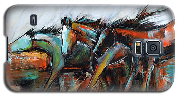 Galaxy S5 Case featuring the painting Desert Racers by Cher Devereaux
