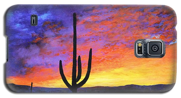 Galaxy S5 Case featuring the painting Desert Sunset 4 by M Diane Bonaparte