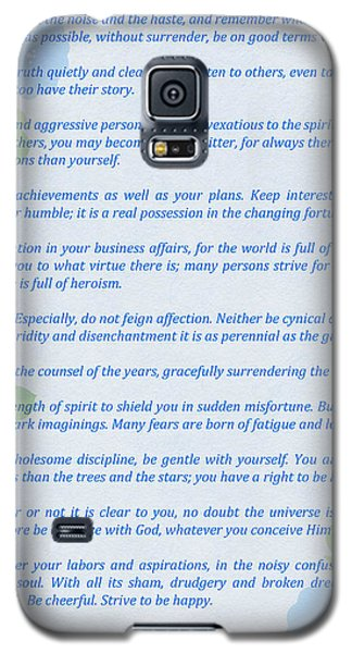 Desiderata In Blue Galaxy S5 Case by Olga Hamilton