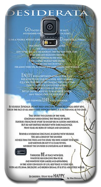Desiderata Poem Over Sky With Clouds And Tree Branches Galaxy S5 Case