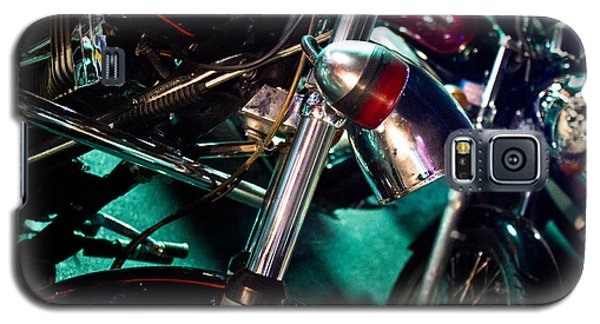 Detail Of Chrome Headlamp On Vintage Style Motorcycle Galaxy S5 Case by Jason Rosette