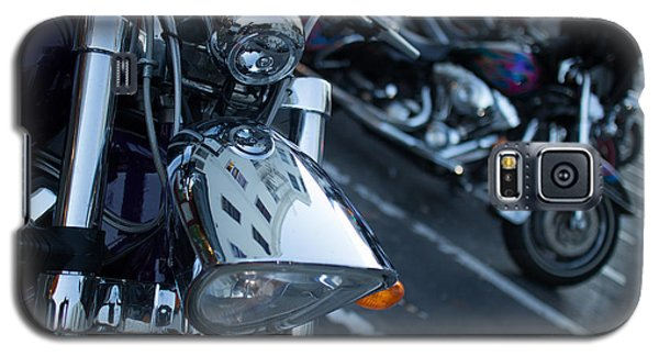 Detail Of Shiny Chrome Headlight On Cruiser Style Motorcycle Galaxy S5 Case by Jason Rosette