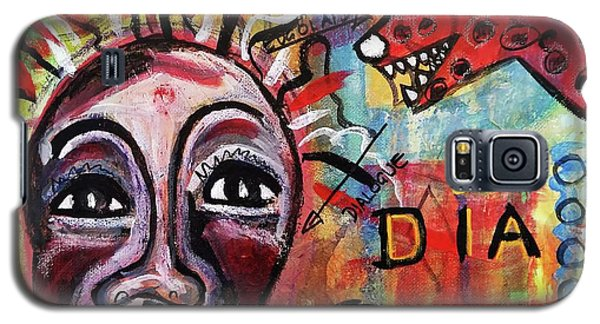 Galaxy S5 Case featuring the mixed media Dialogue Between Red Dawg And Wildwoman-self by Mimulux patricia no No