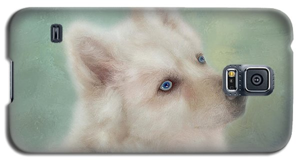 Galaxy S5 Case featuring the mixed media Diamond, The White Shepherd by Colleen Taylor