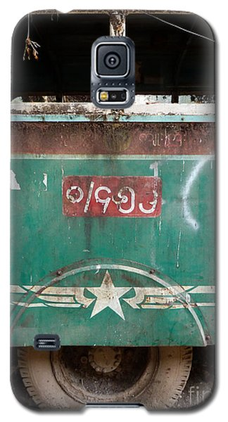 Dilapidated Vintage Green Bus In Burma - Side View With Tire Galaxy S5 Case by Jason Rosette
