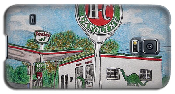 Galaxy S5 Case featuring the painting Dino Sinclair Gas Station by Kathy Marrs Chandler