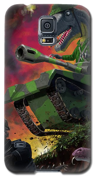 Galaxy S5 Case featuring the painting Dinosaur War 01 by Martin Davey