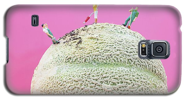 Galaxy S5 Case featuring the painting Dirty Cleaning On Sweet Melon II Little People On Food by Paul Ge