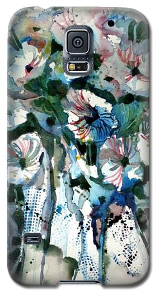 Galaxy S5 Case featuring the painting Disney Petunias by Mindy Newman