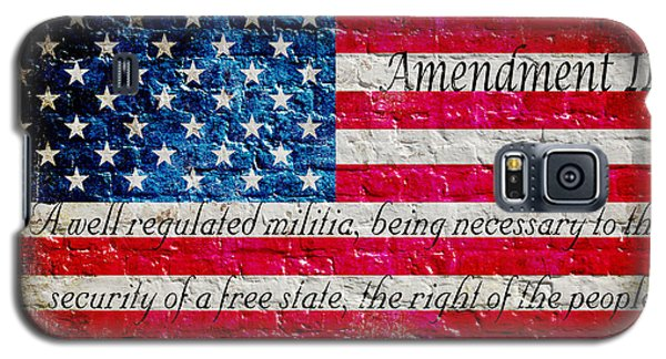 Distressed American Flag And Second Amendment On White Bricks Wall Galaxy S5 Case