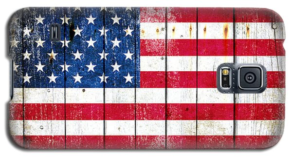 Distressed American Flag On Wood Planks - Horizontal Galaxy S5 Case